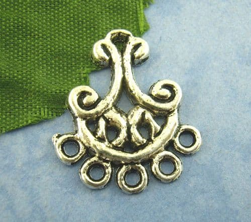 Antique Silver Chandelier Earring Fittings (Pack of 10)