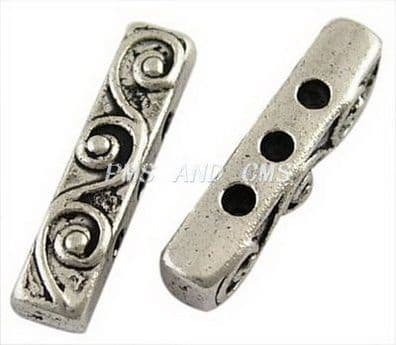 Antique Silver Tibetan Style Bar Spacers - 3 hole bar (Pack of 10)