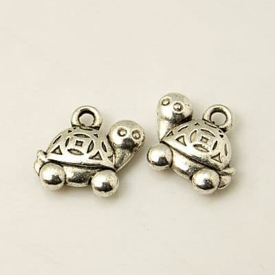Antique Silver Tibetan Style Charm - Tortoise - Pack of 5