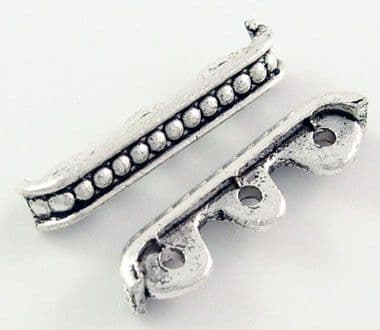 Antique Silver Tibetan Style Spacer Bar - 3 holes (24mm) - pack of 5