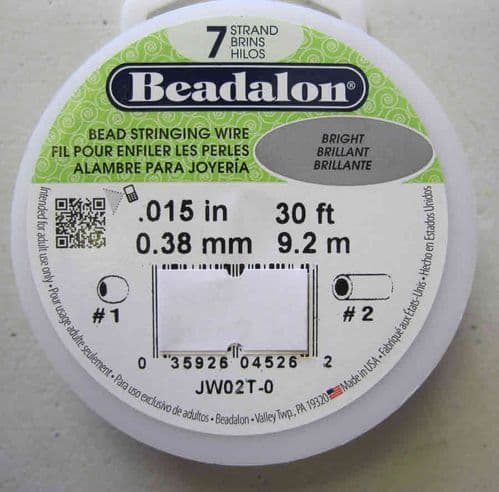 "Beadalon 7 strand wire 0.15"" bright (30ft)"