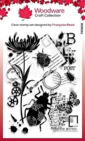 Beetle Collage Clear Woodware Stamp (FRS808)