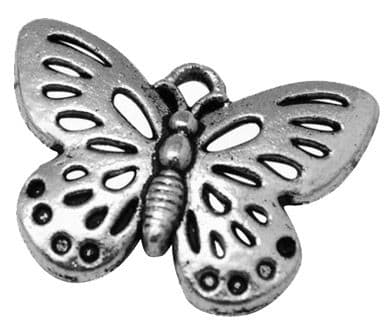 Big Butterfly Tibetan Style Antique Silver Charm (3)