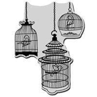 Bird Cage Trio Stampendous Cling Stamp (CRR111)