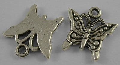 Butterfly Tibetan Silver Pendant/Charm - 16mm - Pack of 10