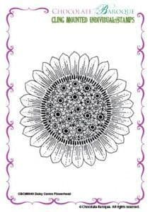 Chocolate Baroque Daisy Centre Flower Head Rubber Stamp