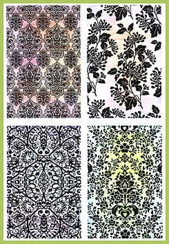 Chocolate Baroque Damask Backgrounds Rubber Stamp