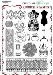 Chocolate Baroque Floral Mannequins Rubber Stamp