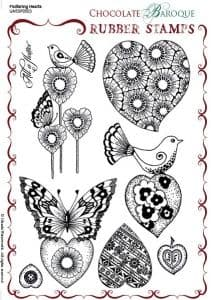 Chocolate Baroque Fluttering Hearts Rubber Stamp