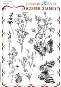 Chocolate Baroque Harebell Butterfly Rubber Stamp