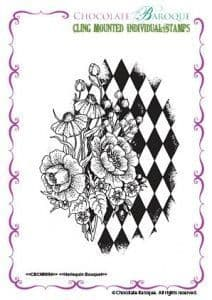 Chocolate Baroque Harlequin Bouquet Rubber Stamp