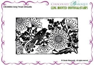 Chocolate Baroque Song Thrush Silhouette Cling mounted stamp