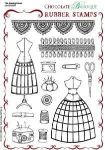 Chocolate Baroque The Sewing Room Rubber Stamp