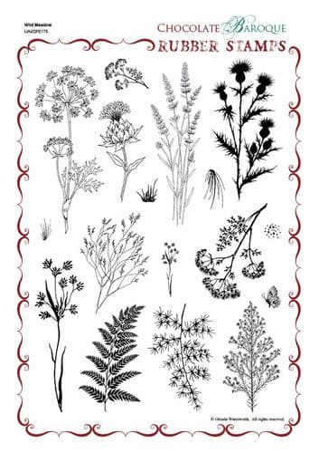 Chocolate Baroque Wild Meadow Rubber Stamp