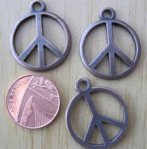 Copper Peace Symbol Charms (Pack of 3)