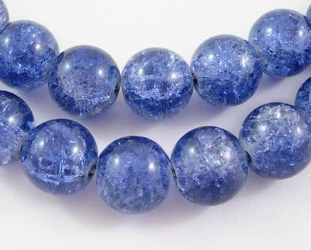 Crackle Glass Beads - Round - 6mm - Lilac - (30)