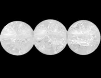 Crackle Glass Beads - Round - Clear - 8mm (25)