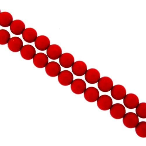 Dyed Round Glass Pearl Beads - 3mm (over 100) - Bright Red