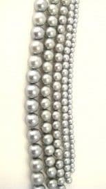 Dyed Round Glass Pearl Beads - 6mm  (38 beads) - Light Grey