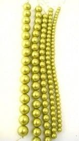 Dyed Round Glass Pearl Beads - 6mm  (38 beads) - Olivine