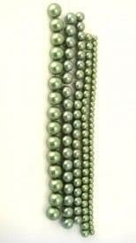 Dyed Round Glass Pearl Beads - 8mm (27 beads) - Khaki