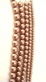 Dyed Round Glass Pearl Beads - 8mm (27 beads) - Light Brown