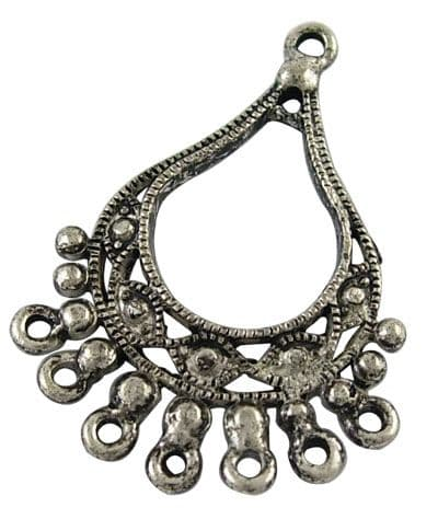 Earring Chandeliers - Antique Silver Ornate Drop - Pack of 2