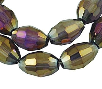 Electroplate Glass Beads Oval Rice Shape with AB plate - 4x6mm (35 beads) - Granite