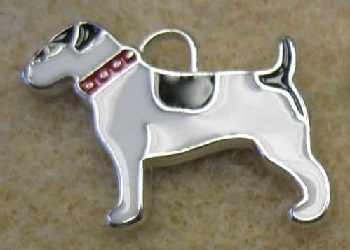 Enamel Alloy Charm/Pendant - Dog - White with Black Patches - Pack of 2