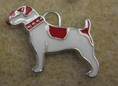 Enamel Alloy Charm/Pendant - Dog - White with Red Patches - Pack of 2