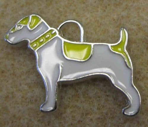 Enamel Alloy Charm/Pendant - Dog - White with Yellow Patches - Pack of 2