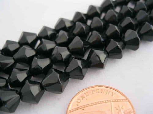 Faceted Glass Bicone - 8mm - 21 beads - Black