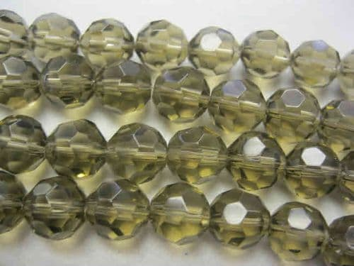 Faceted Round Glass Beads - 10mm - Charcoal (16)