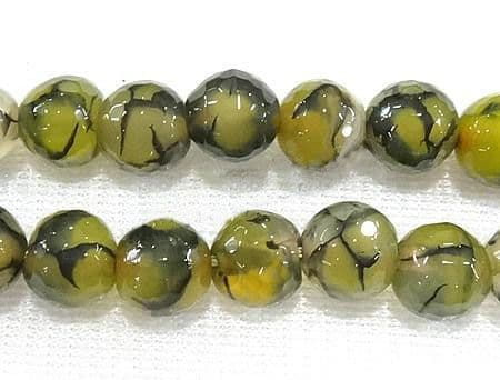 Faceted Round Olive Natural Dragon Veins Agate Beads - Grade A - 8mm - 23 beads