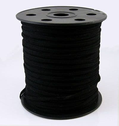 Faux Suede Cord 3mm wide,1.5mm thick - Black (one metre)