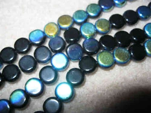 Flat Round Glass Beads 8x4mm - approx 20 beads - Black