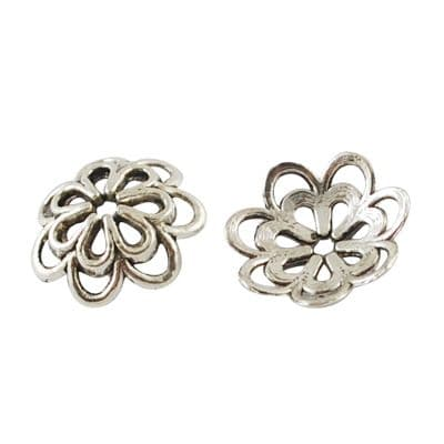Flower Shaped Antique Silver Colour Alloy Bead Caps - 14x4mm (approx 25)