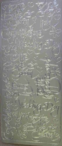 For the Bride & Groom Silver Peel-Off Sticker