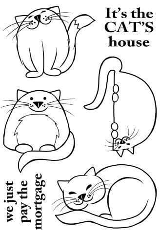 Four Fine Felines Woodware Clear Stamp (JGS549)