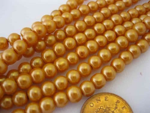 Glass Pearl Beads Apricot 6mm