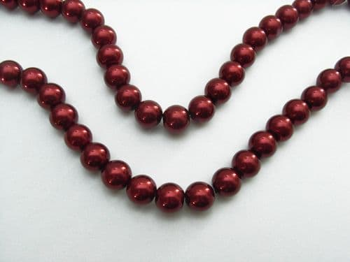 Glass Pearl Beads Burgundy 10mm