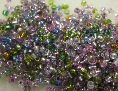 Glass Seed Beads - 110 (2mm) Mixed Silver Lined (50g)