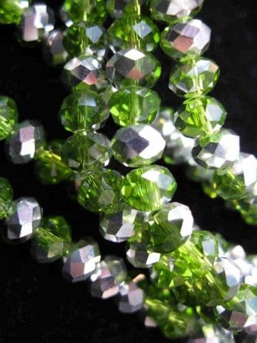 Green Half Silver Plate Crystal Rondelle Bead 6mm