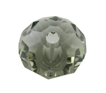 Handmade Faceted Round Smokey Crystal Glass Beads - 10x7mm (13 beads)