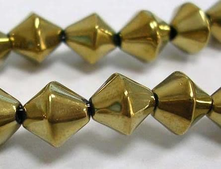 "Handmade Metalized Bicone Glass - Golden Plated, 4mm - 14"" Strand of Beads"