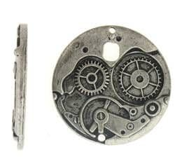 Large Watch Face Mechanism Steampunk Style in antique silver finish