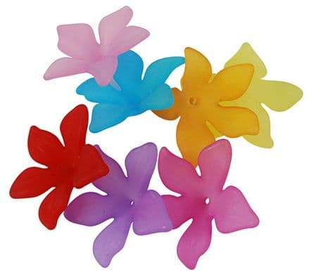 Lucite (Acrylic) Flowers - Mixed Colours - Pointed 5 petal flower (29mm) - 20g