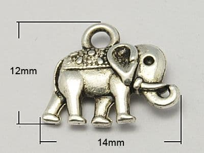 Metal Alloy Charm - Elephant - Antique Silver (Pack of 5)