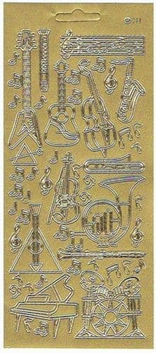 Musical Instruments Gold Peel-Off Sticker