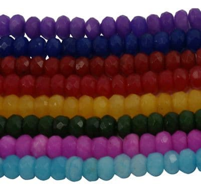 Natural Dyed White Jade Gemstone Beads - 8x5mm Rondelle - Random colour selection